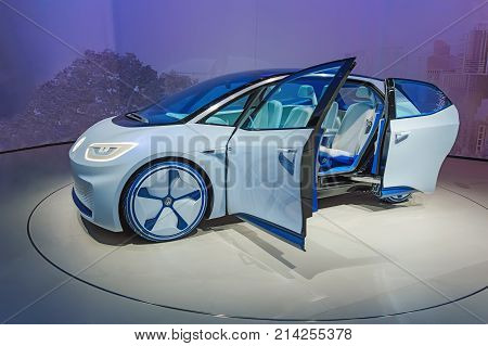 Frankfurt, Germany - Sep 17, 2017: Volkswagen I.d. Concept Autonomous Electric Car Vw Id At Iaa Fran