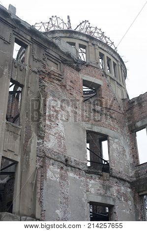 Ruins of the A bomb or Genbaku dome Hiroshima Japan part of the Hiroshima Peace Memorial and one of the few buildings left standing after the detonation of the atomic bomb by the Allies