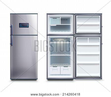 illustration of realistic steel modern fridges set isolated on white background