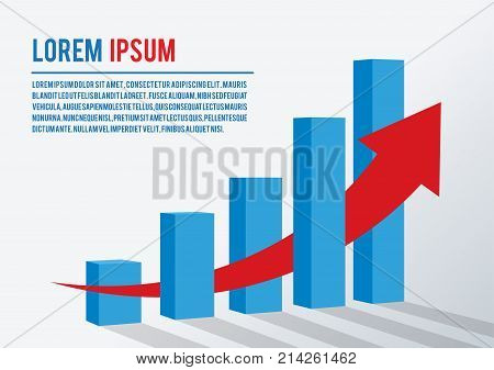 Vector illustration Business marketing development and growth concept Template presentation layout with red arrow growth on a white background with shadow