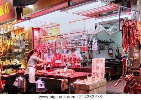 Streetside Butcher Shop In Hong Kong