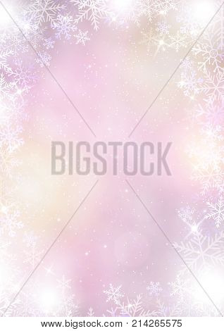 The gradient mixed purple winter paper background with snowflake border