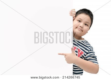 Obese Fat Boy Pointing On White Banner Board Isolated On White