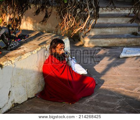 A Meditating Sadhu Under Bodhi Tree