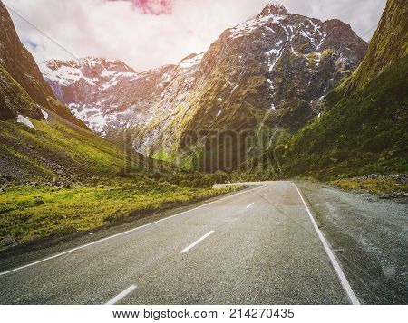 Mountain Road Up Hill With Nature Landscape