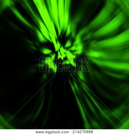 Dreadful head of zombie girl. Illustration in genre of horror. Green color. States of mind. Blur effect. Creative design backdrop.