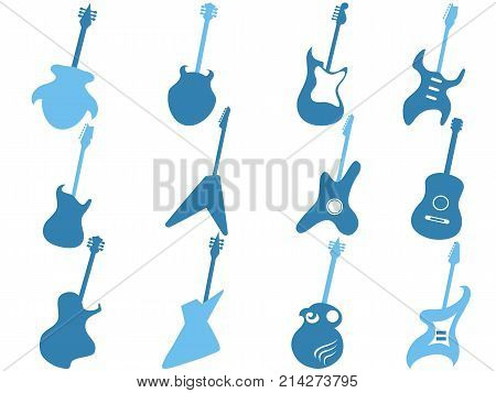 isolated blue guitar icons set from white background