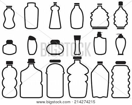 isolated bottle container outline icons from white background