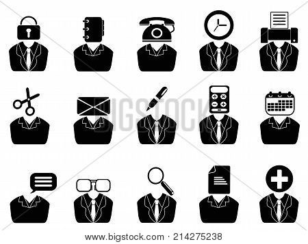 isolated business people with office tools icons set from white background