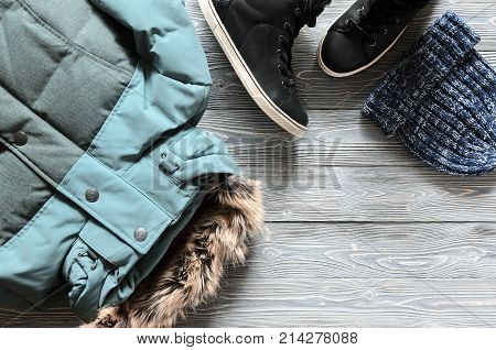 Women's Warm Winter Clothing And Accessories - Jacket, Black Leather High Top Sneakers And Hat. Wish