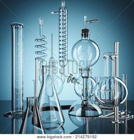 Glass chemistry lab equipment. Chemistry Lab concept.