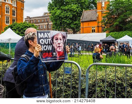 LONDON UK - JUNE 09 2017: Class War magazine protest to ask Theresa May to resign in College Green Westminster on the day following the June 8 general elections high dynamic range