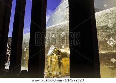 Window Frame of Wat Phra Singh Temple Chiang Mai Thailand stock photo