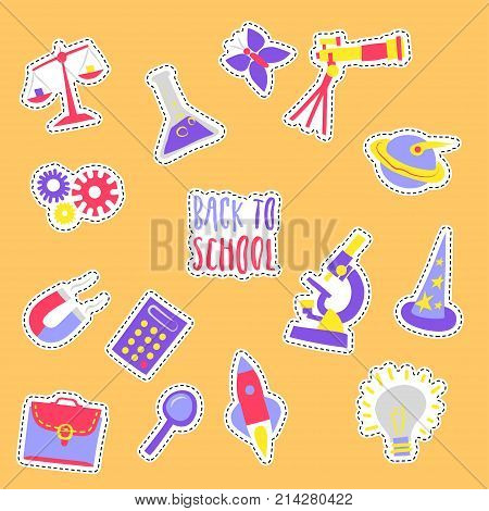 Vector set of hand drawn children`s trendy stickers on the theme of scientific studies at school on yellow background. For schoolbook and notebook design.