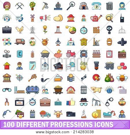 100 different professions icons set. Cartoon illustration of 100 different professions vector icons isolated on white background