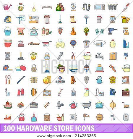 100 hardware store icons set. Cartoon illustration of 100 hardware store vector icons isolated on white background