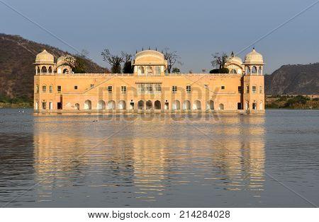 The haunting Jal Mahal palace is set on Man Sagar Lake in Jaipur India