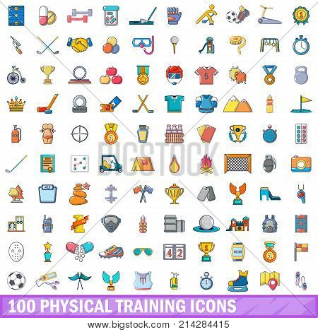 100 physical training icons set. Cartoon illustration of 100 physical training vector icons isolated on white background