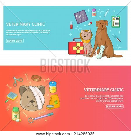 Veterinary clinic 2 horizontal banners concept. Cartoon illustration of veterinary clinic vector horizontal banners set for any web design