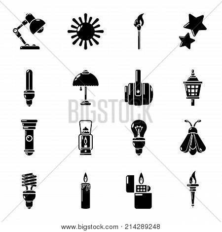 Light source icons set. Simple illustration of 16 light source vector icons for web