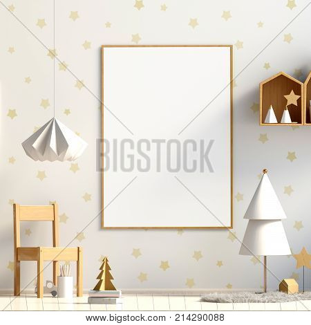 Pastel Christmas child's room. playroom. modern style. 3d illustration. Mock up poster