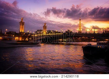 Alexandre III Bridge over Seine river at violet twilights, Paris, France, retro toned