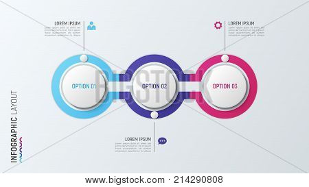 Three steps infographic process chart. 3 options vector template for presentations, data visualization, layouts, annual reports, web design.