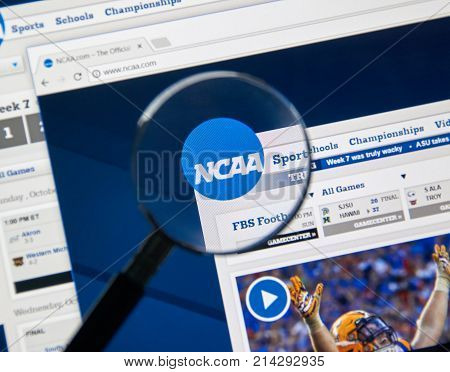 MONTREAL CANADA - NOVEMBER 7 2017: NCAA web page. The National Collegiate Athletic Association is a member-led organization dedicated to the well-being and lifelong success of college athletes