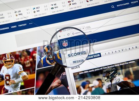 MONTREAL CANADA - NOVEMBER 7 2017: NFL official website with scores link. The National Football League is a professional American football league consisting of 32 teams
