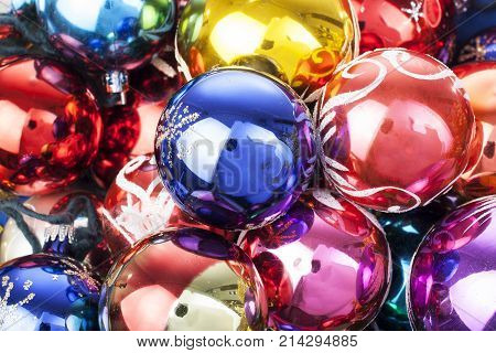 Christmas bauble ball texture real glass ball. Christmas baubles balls, celebrate christmas holiday with colorful shiny brilliant christmas balls. Christmas ornaments. Illustrate holiday with christmas balls. Colorful.