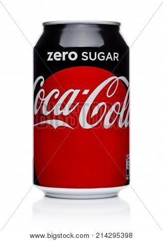 London, Uk - November 17, 2017: Aluminium Can Of Zero Coca-cola On White. Coca-cola Is One Of The Mo