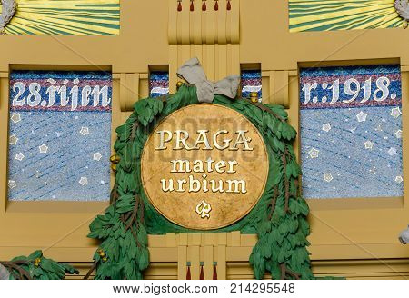 PRAGUE, CZECH REPUBLIC - MAY 10, 2014: Praga Mater Urbium, in Latin Mother of Cities is a former art nouveau in the historical building of Prague railway station, Czech Republic.