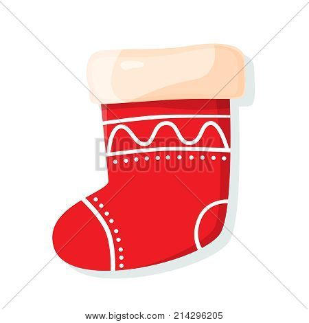 Christmas sock isolated on white background. Symbol of Merry Christmas and Happy New Year. Cartoon vector illustration.