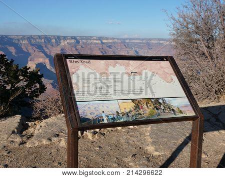 Rim Trail Sign At Grand Canyon