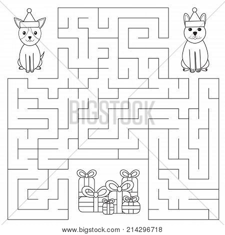 Funny maze for children. Dogs are looking for gifts. New Year symbol. Color page. Christmas labyrinth. Vector illustration.