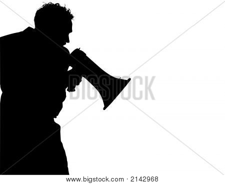 Silhouette With Clipping Path Of Man Yelling