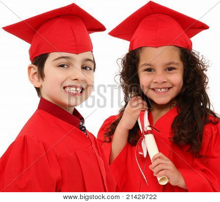 Kindergarten Graduation Boy Girl Children Interacial