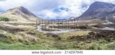 The amazing landscape between Beinn a'Chrulaiste and Buachaille Etive Mor in the scottish highlands, uk