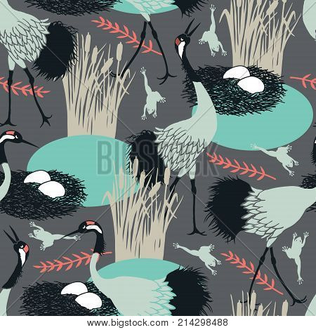 Background with Common Cranes and nest in the marsh