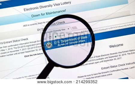 MONTREAL CANADA - NOVEMBER 7 2017: Electronic Diversity Visa Lottery official web site with rules and online application. The lottery is one of the ways to get a Green card to the US.