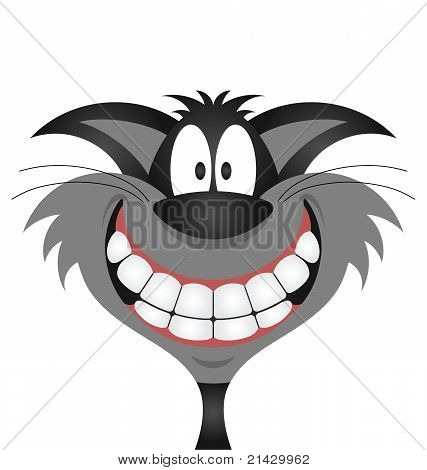 Lucky black cat isolated on white background poster