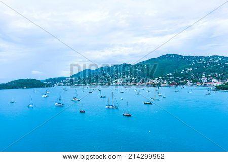 Aerial view of the island of St Thomas, USVI. Charlotte Amalie - cruise bay.