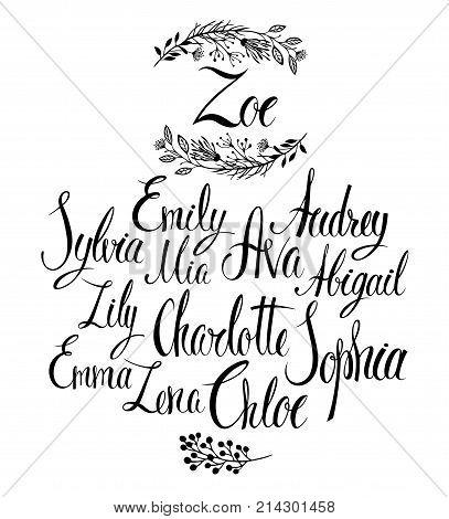 Female names. Popular names for girls. Calligraphy