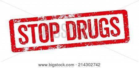 A Red Stamp On A White Background - Stop Drugs