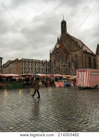NUREMBERG, GERMANY - NOVEMBER 11, 2017: View of the Frauenkirche (Church of Our Lady) in the center of Nuremberg on rainy day, Germany