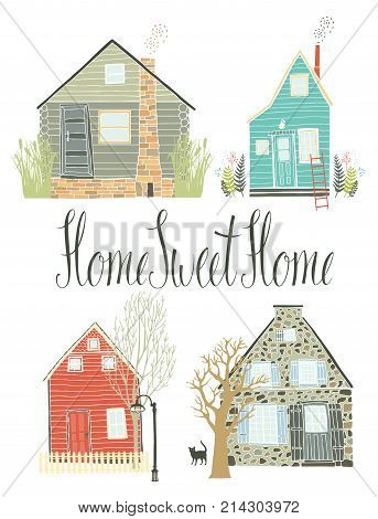 Home sweet home design card Country life