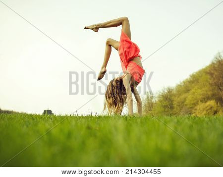 Woman Doing Somersault