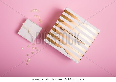 Gift Box On A Pink Background