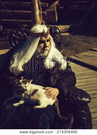 Old Druid With Cat