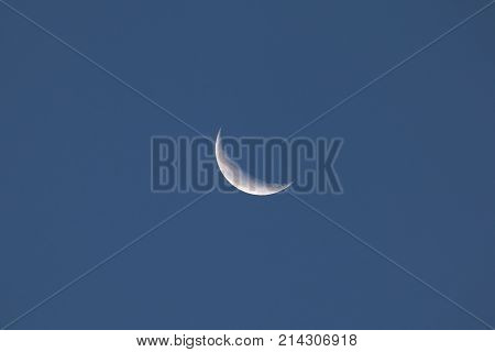 Waning Crescent Moon during the evening of 15 October 2017 over Sussex England.